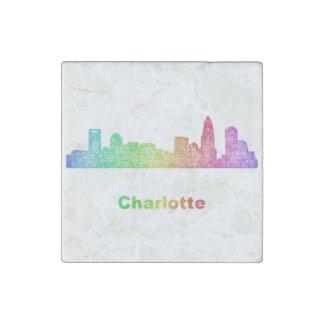 Rainbow Charlotte skyline Stone Magnet