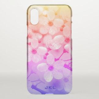 Rainbow Cherry Blossoms Monogram iPhone X Case