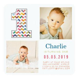 Rainbow Chevron 1st Birthday Photo Cards 13 Cm X 13 Cm Square Invitation Card