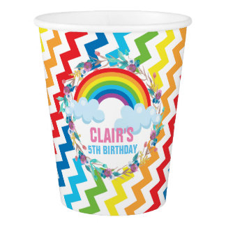 Rainbow Chevron Birthday Paper Cup