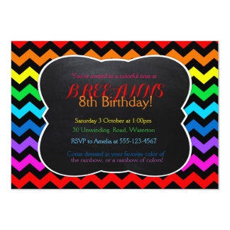Rainbow Chevron Chalkboard Party Invitation