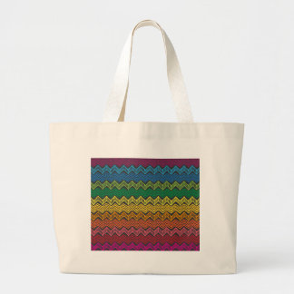 Rainbow Chevron Large Tote Bag