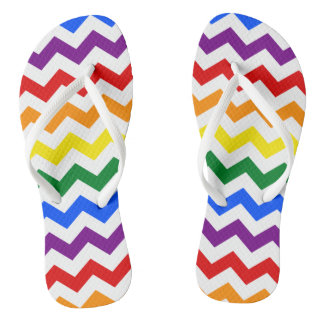Rainbow Chevron Pattern Colorful Simple Design Art Thongs