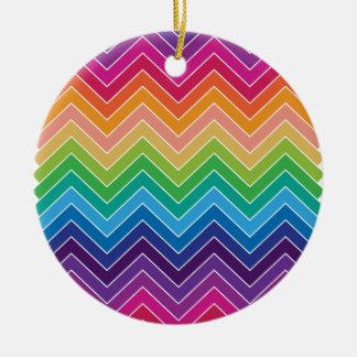 Rainbow Chevron Pattern Modern gifts Round Ceramic Decoration