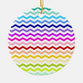 Rainbow chevron round ceramic decoration