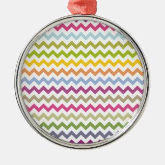 Rainbow Chevron Silver-Colored Round Decoration