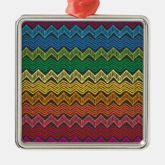 Rainbow Chevron Silver-Colored Square Decoration