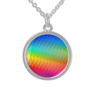 Rainbow chevron sterling silver necklace