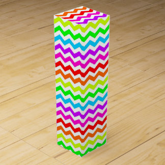 Rainbow chevron wine gift box