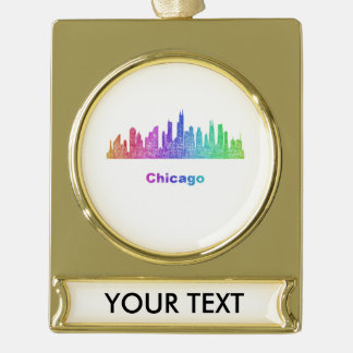 Rainbow Chicago skyline Gold Plated Banner Ornament