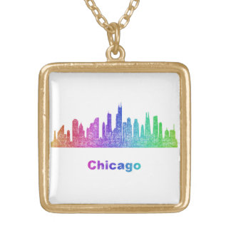 Rainbow Chicago skyline Gold Plated Necklace