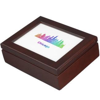 Rainbow Chicago skyline Keepsake Boxes
