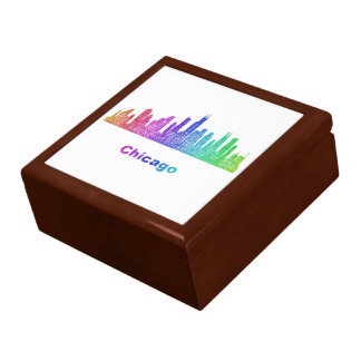Rainbow Chicago skyline Large Square Gift Box