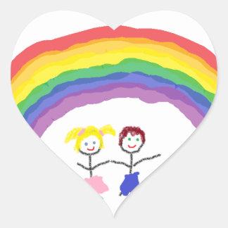 Rainbow Children Heart Sticker