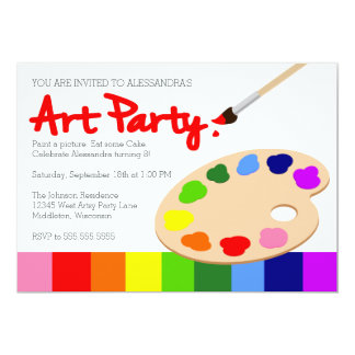 Rainbow Children's Art Party Birthday 13 Cm X 18 Cm Invitation Card