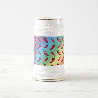 Rainbow chili peppers pattern mug