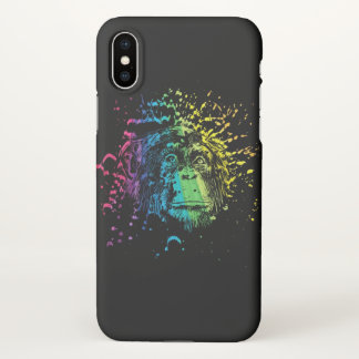 Rainbow Chimpanzee on Black iPhone X Case