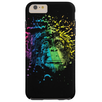 Rainbow Chimpanzee on Black Tough iPhone 6 Plus Case