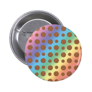 Rainbow chocolate chip cookies pattern pinback buttons
