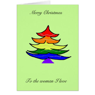 Rainbow Christmas tree card