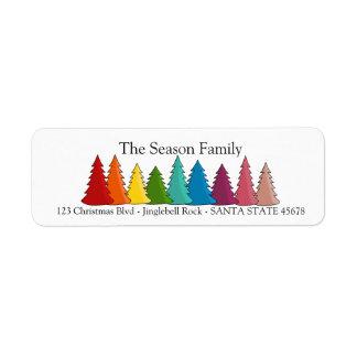 Rainbow Christmas trees holiday label
