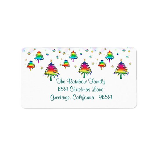 Rainbow Christmas Trees Label