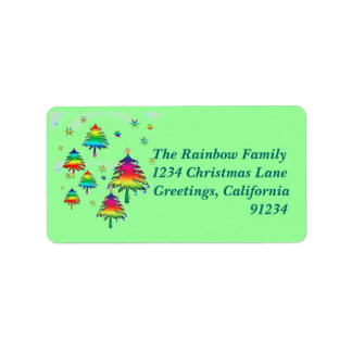 Rainbow Christmas Trees Label Address Label