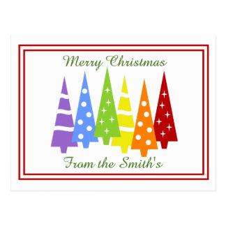 Rainbow Christmas Trees Postcard