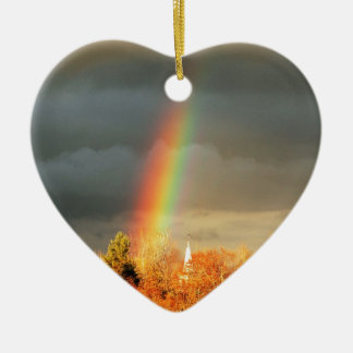 Rainbow Church Ceramic Heart Decoration