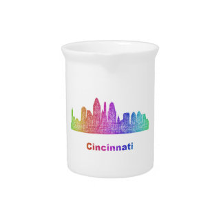 Rainbow Cincinnati skyline Pitchers