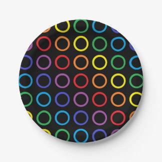 Rainbow Circles Black 7 Inch Paper Plate