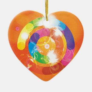 Rainbow Circles Ceramic Heart Decoration