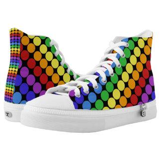 rainbow circles on black retro high tops printed shoes