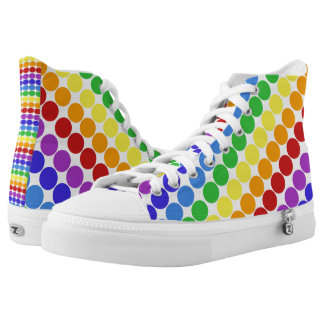 rainbow circles on white retro high tops printed shoes