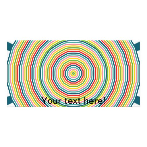 Rainbow circles personalized photo card