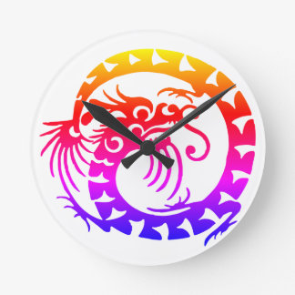 Rainbow Circular Dragon Round Clock