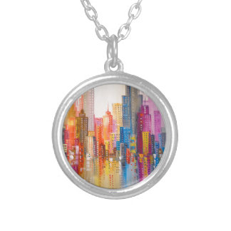 Rainbow city silver plated necklace
