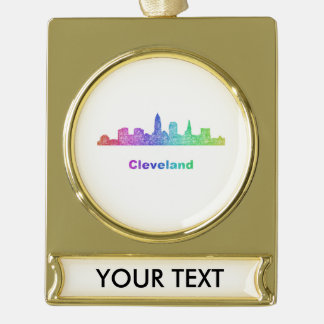 Rainbow Cleveland skyline Gold Plated Banner Ornament