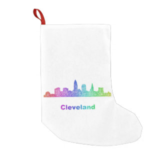 Rainbow Cleveland skyline Small Christmas Stocking