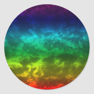 rainbow cloud classic round sticker