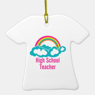 Rainbow Cloud High School Teacher Christmas Ornament
