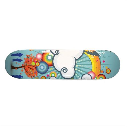 Rainbow Cloud People Skateboard