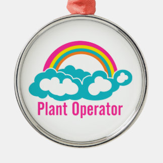 Rainbow Cloud Plant Operator Metal Ornament