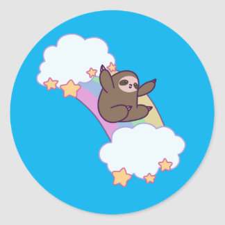 Rainbow Cloud Sloth Classic Round Sticker