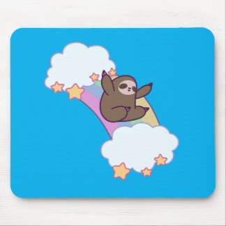 Rainbow Cloud Sloth Mouse Pad