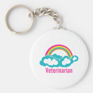 Rainbow Cloud Veterinarian Basic Round Button Key Ring
