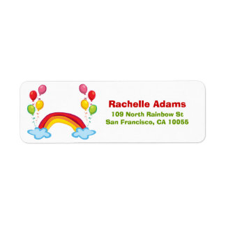 Rainbow Clouds & Balloons Birthday Address Labels