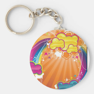 Rainbow Clouds Basic Round Button Key Ring