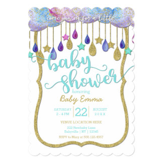 Rainbow Clouds & Gold Stars Baby Shower Invitation