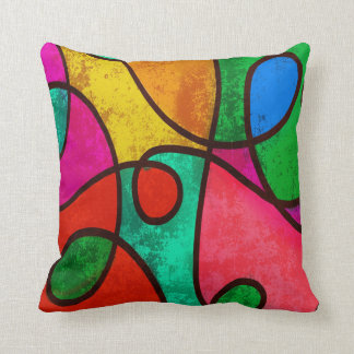 Rainbow clown color designs Fractal Abstract Cushion